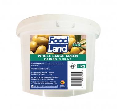 FOODLAND LARGE GREEN OLIVES 1KG