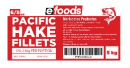 EFOODS BUDGET HAKE FILLETS (6/8oz) - 171G TO 230G
