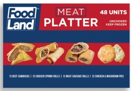 NEW DELI MEAT PLATTER 48 PIECES OF SAMOOS,PIES ETC